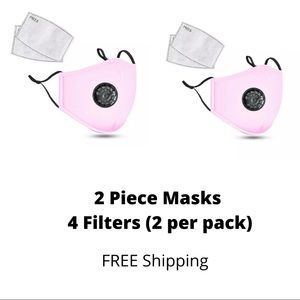 2 pack Face mask with replaceable Filter
